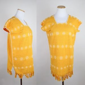 VTG Goldenrod Mexican Knit Cotton Tunic Top Fringe